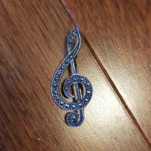 Jewelry - Vintage Treble Clef Sterling Pin